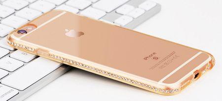 iPhone 6S / 6 TPU Gummi Hülle Klar Silikon Crystal Clear Case Glitzer Strass GOLD – Bild 3
