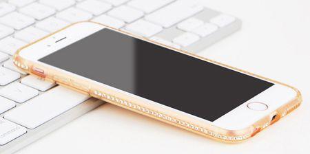 iPhone 6S / 6 TPU Gummi Hülle Klar Silikon Crystal Clear Case Glitzer Strass GOLD – Bild 2