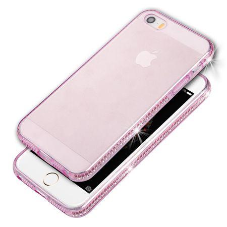 iPhone SE / 5S / 5 TPU Gummi Hülle Klar Silikon Crystal Clear Case Glitzer Strass PINK / ROSA – Bild 1