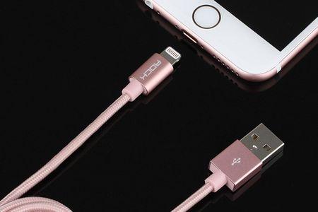 ROCK Lightning USB Ladekabel Apple MFI zertifiziert 1,8m ROSEGOLD – Bild 5