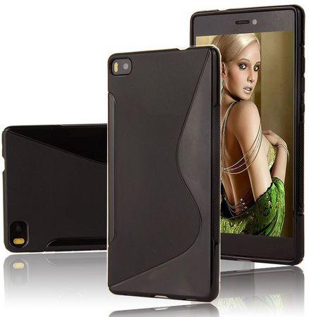 Huawei P8 S-Line Gummi TPU Silikon Case Cover Hülle SCHWARZ