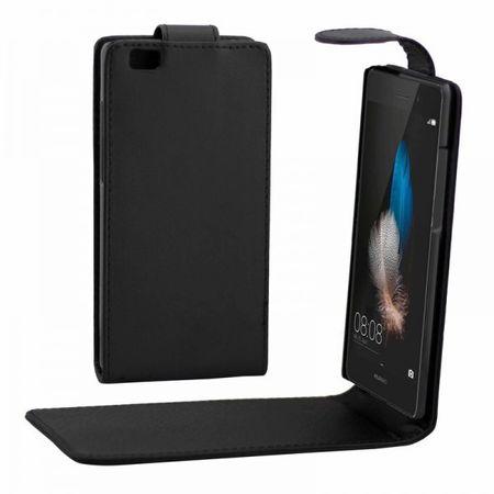 Huawei P8 Lite Flip Etui Hülle Leder Case Tasche SCHWARZ