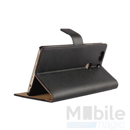 Wiko Lenny 3 Luxus Leder Etui Case mit Kartenfach Flip Tasche Hülle SCHWARZ – Bild 2