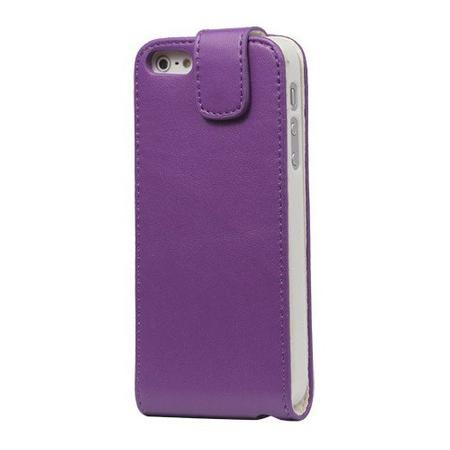 iPhone SE / 5S / 5 Leder Flip Etui Tasche Hülle LILA VIOLETT
