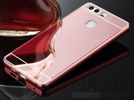 Huawei P10 Alu-Bumper Mirror mit Spiegel-Rücken Metall Bumper Case Hülle Aluminium ROSÉGOLD – Bild 2
