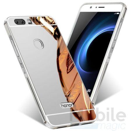 Huawei P10 Alu-Bumper Mirror mit Spiegel-Rücken Metall Bumper Case Hülle Aluminium SILBER – Bild 1