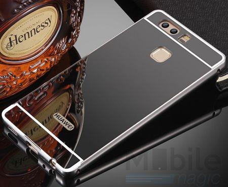 Huawei P10 Alu-Bumper Mirror mit Spiegel-Rücken Metall Bumper Case Hülle Aluminium SCHWARZ – Bild 2