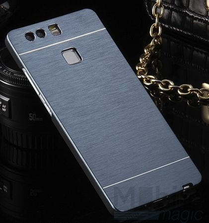 Huawei P10 Aluminium Metall Brushed Hard Case Cover Hülle BLAU – Bild 3