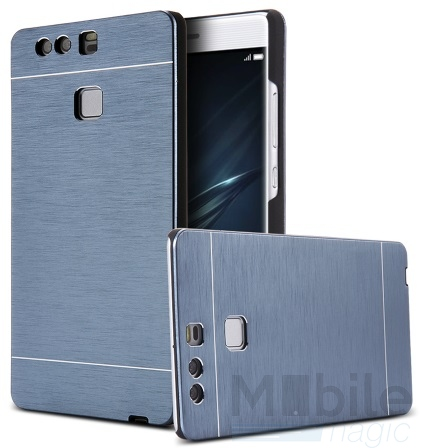 Huawei P10 Aluminium Metall Brushed Hard Case Cover Hülle BLAU – Bild 1