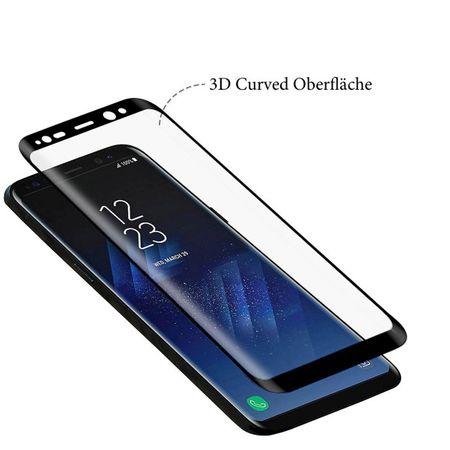 Samsung Galaxy S8 RANDLOS Panzerglas Glas Schutzfolie Schutzglas Curved Tempered Glass BLAU – Bild 3