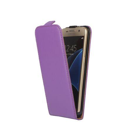 Samsung Galaxy S8 Leder Flip Case Cover Etui Tasche Vertikal Hülle VIOLETT / LILA – Bild 2