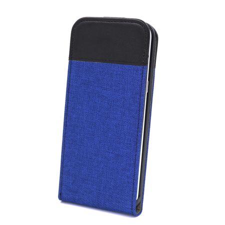 Samsung Galaxy S8 Vertikal Stoff Leder Hülle Etui Cover Case Tasche Canvas Kartenfach BLAU – Bild 1
