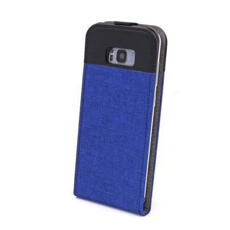 Samsung Galaxy S8 Vertikal Stoff Leder Hülle Etui Cover Case Tasche Canvas Kartenfach BLAU – Bild 2