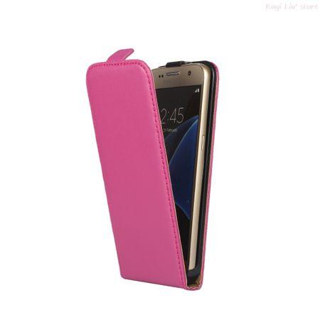 Samsung Galaxy S8 Plus Leder Flip Case Cover Etui Tasche Vertikal Hülle PINK – Bild 2