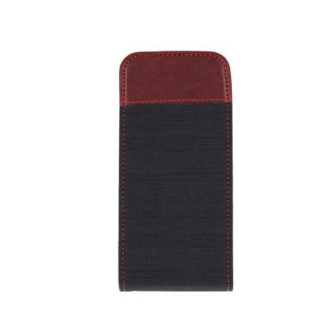 Samsung Galaxy S8 Plus Vertikal Stoff Leder Hülle Etui Cover Case Tasche Canvas Kartenfach GRAU / BRAUN – Bild 3