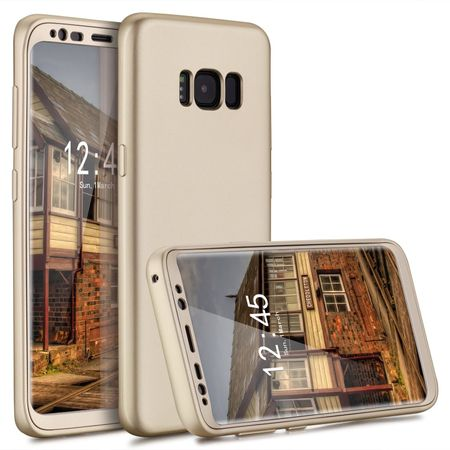 Samsung Galaxy S8 Plus Komplett Schutz Case + Schutzfolie Full Protection Cover Hülle GOLD – Bild 1