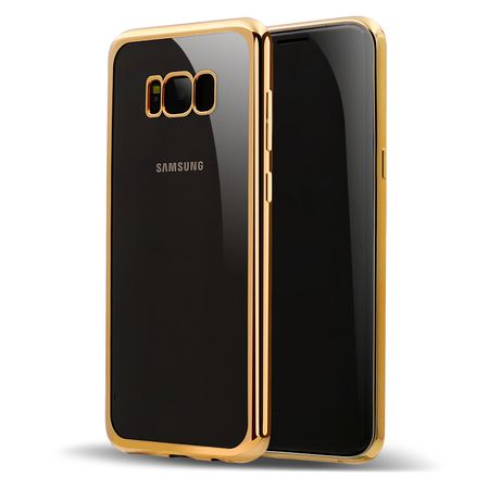 Samsung Galaxy S8 Plus Metallic Gummi TPU Silikon Case Hülle Schutzhülle Cover Klar GOLD – Bild 2