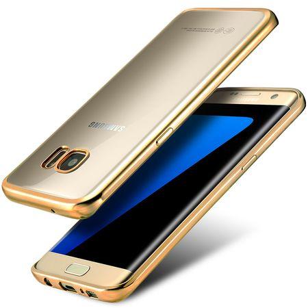 Samsung Galaxy S8 Plus Metallic Gummi TPU Silikon Case Hülle Schutzhülle Cover Klar GOLD – Bild 3