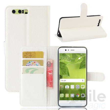 Huawei P10 Plus Flip Etui Leder Case Tasche Hülle mit Kartenfach WEISS – Bild 1