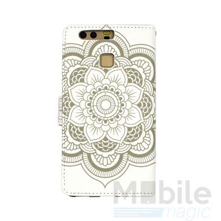 Huawei P10 Plus Mandala Henna Leder Etui Tasche Hülle Case WEISS – Bild 4