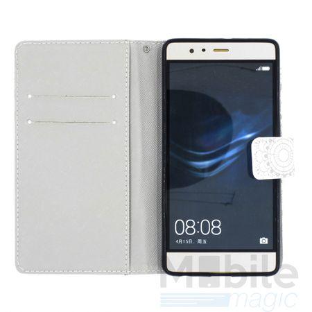 Huawei P10 Plus Mandala Henna Leder Etui Tasche Hülle Case WEISS – Bild 5