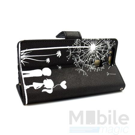 Huawei P10 Plus Pusteblume Junge & Mädchen Leder Etui Flip Hülle Case Tasche SCHWARZ – Bild 2