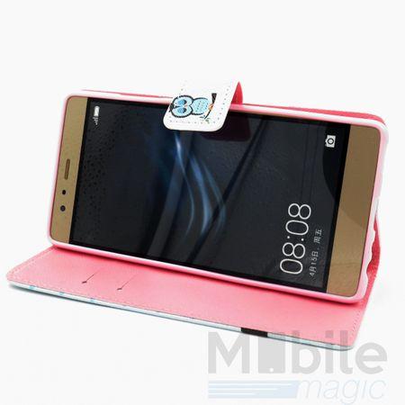 Huawei P10 Plus Leder Etui Eule Tasche Hülle Flip Cover Case BLAU – Bild 3