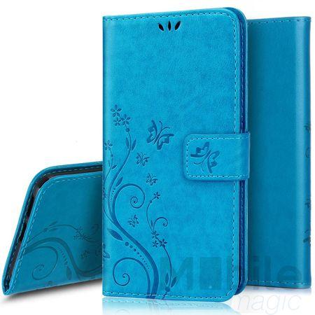 Huawei P10 Plus Leder Etui Blume Schmetterling Hülle Flip Case Cover BLAU / TÜRKIS – Bild 1