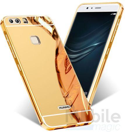 Huawei P10 Plus Alu-Bumper Mirror mit Spiegel-Rücken Metall Bumper Case Hülle Aluminium GOLD – Bild 1