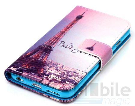 Wiko Lenny 2 Eiffelturm Paris Leder Etui Case Tasche Hülle Case PINK / VIOLETT – Bild 2