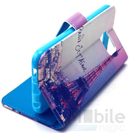 Wiko Lenny 2 Eiffelturm Paris Leder Etui Case Tasche Hülle Case PINK / VIOLETT – Bild 3
