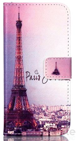 Wiko Lenny 2 Eiffelturm Paris Leder Etui Case Tasche Hülle Case PINK / VIOLETT – Bild 1