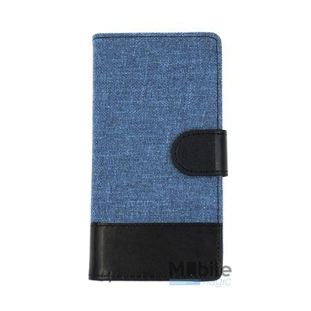 Wiko Lenny 2 Stoff Leder Hülle Etui Flipcase Cover Case Tasche Canvas Kartenfach BLAU – Bild 1