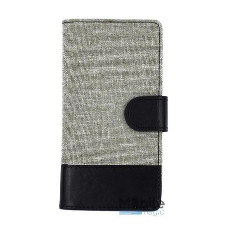 Wiko Lenny 2 Stoff Leder Hülle Etui Flipcase Cover Case Tasche Canvas Kartenfach GRAU – Bild 1