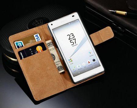 Sony Xperia Z5 Flip Etui Tasche Hülle Leder Case mit Kartenfach SCHWARZ – Bild 4