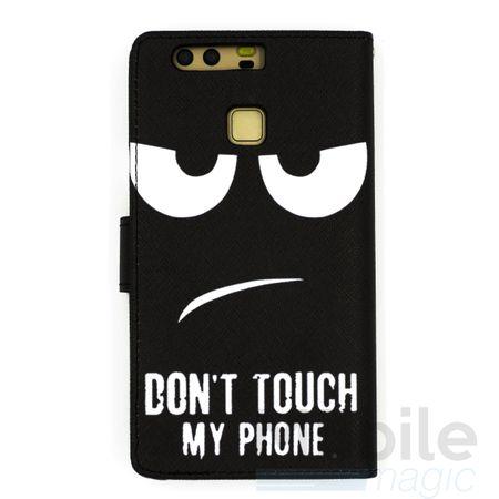 Huawei Honor 6X DON'T TOUCH MY PHONE Leder Etui Flip Hülle Tasche Case SCHWARZ – Bild 4