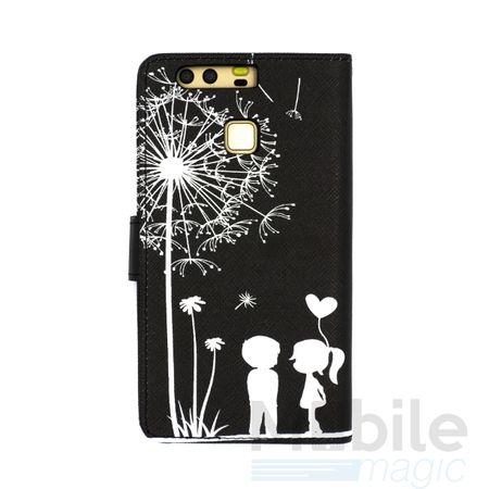 Huawei Honor 6X Pusteblume Junge & Mädchen Leder Etui Flip Hülle Case Tasche SCHWARZ – Bild 4