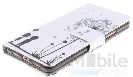 Huawei Honor 6X Pusteblume Junge & Mädchen Leder Etui Flip Hülle Case Tasche WEISS – Bild 2