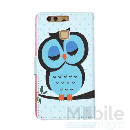 Huawei Honor 6X Leder Etui Eule Tasche Hülle Flip Cover Case BLAU – Bild 4