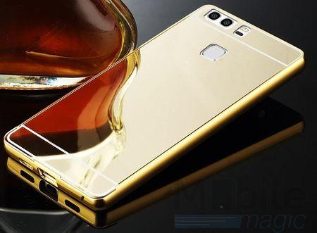 Huawei Honor 6X Alu-Bumper Mirror mit Spiegel-Rücken Metall Bumper Case Hülle Aluminium GOLD – Bild 2