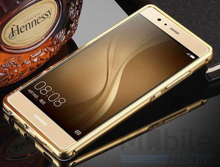 Huawei Honor 6X Alu-Bumper Mirror mit Spiegel-Rücken Metall Bumper Case Hülle Aluminium GOLD – Bild 3