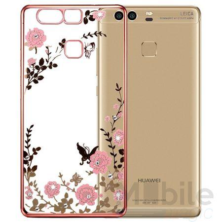 Huawei Honor 6X Edles Glitzer Blumen Gummi TPU Silikon Case PINK – Bild 1
