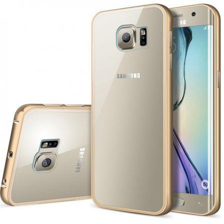 Samsung Galaxy S6 Edge Plus Alu-Bumper Case mit Acrylglas-Rücken Cover Hülle GOLD – Bild 1