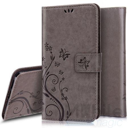 LG G6 / G6+ Leder Etui Blume Schmetterling Hülle Flip Case Cover GRAU – Bild 1