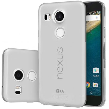 LG ( Google ) Nexus 5X Gummi TPU Silikon Crystal Clear Case Cover Hülle GRAU TRANSPARENT Klar