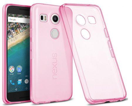 LG ( Google ) Nexus 5X Gummi TPU Silikon Clear Case Cover Hülle TRANSPARENT PINK Rosa – Bild 1