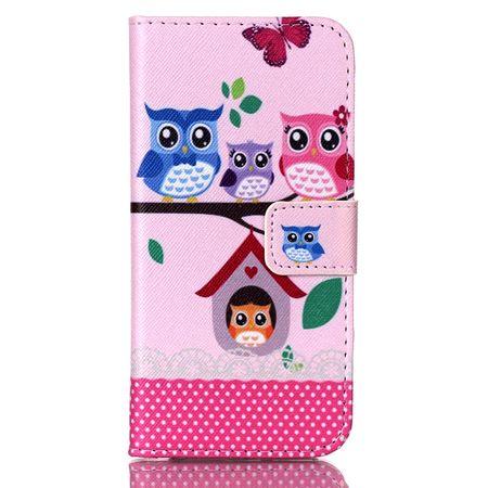 iPhone 7 Leder Etui Eule Tasche Hülle Flip Cover Case PINK / ROSA – Bild 1