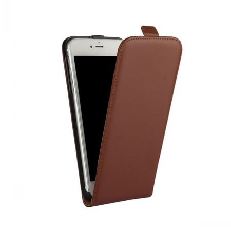 iPhone 6S Plus / 6 Plus Leder Flip Case Cover Etui Tasche Vertikal Hülle BRAUN – Bild 2