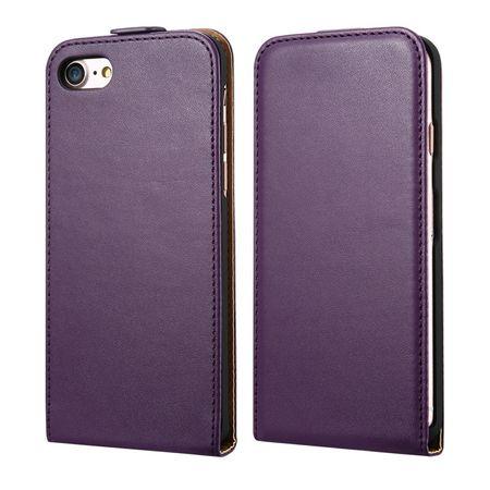 iPhone 6S Plus / 6 Plus Leder Flip Case Cover Etui Tasche Vertikal Hülle VIOLETT / LILA – Bild 1