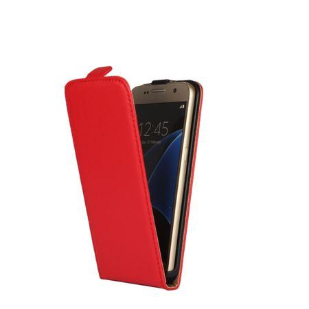 Galaxy S7 Edge Leder Flip Case Cover Etui Tasche Vertikal Hülle ROT – Bild 2
